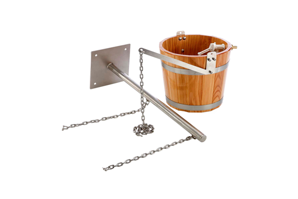Schwall bucket of wood with arm