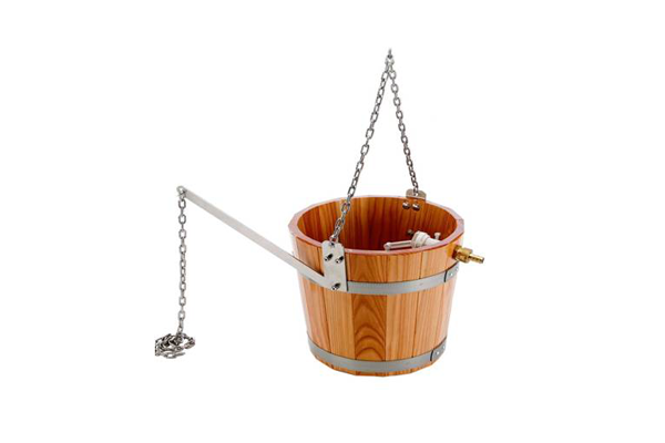 Wooden bucket with hanging chain